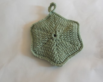 Handmade Potholder Front Post Hexagon Frosty Green