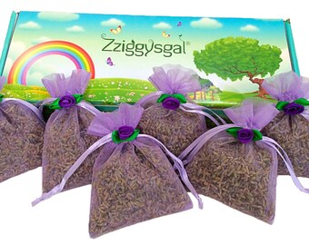 Zziggysgal 6 French Lavender Sachets in a Beautiful Keepsake Box