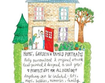 House Portrait, Personalized Portraits, Home, Garden, Family, Unique, Original Artwork, Illustration,