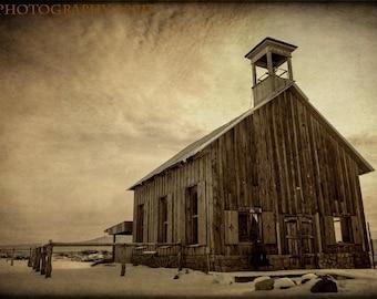 Country Church Fine Art Photography Rustic Home Decor Southwestern Snow Barn Religion