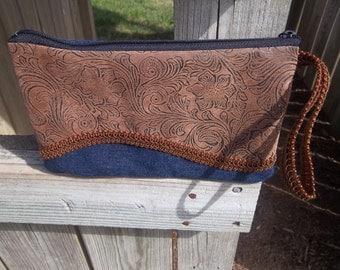 Denim Western wristlet purse