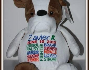 Cerebral Palsy,  personalized Bulldog, Warrior Pet, stuffed animal