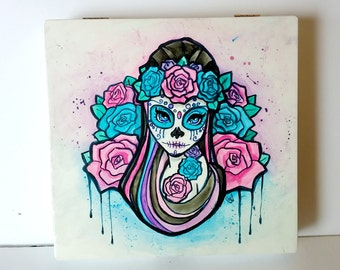 Sugar Skull -  Hand Painted Decorative Box