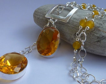 Necklace: Long Lariat style asymmetric summer yellow beaded chain with semi precious Citrine and yellow Jade