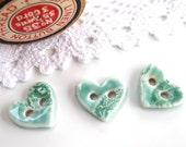 Porcelain buttons ~ 3 handmade ceramic button, heart buttons, light green aqua sewing supplies knitting supply, fibre arts, jewellery making