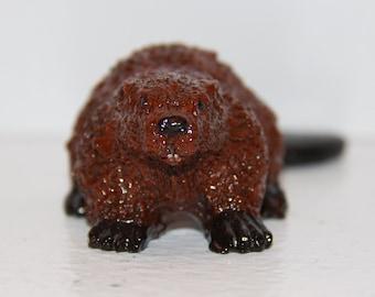 Handcrafted Figurine - Brown Beaver 100% Handmade