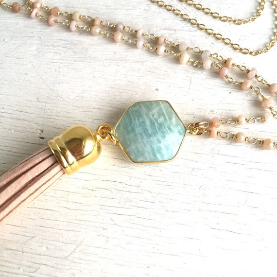 Tassel Necklace in Pink and Aquamarine. Long Beaded Tassel Necklacr. Leather Tassel.  Long Gemstone Tassel Necklace. Boho Tassel Necklace.