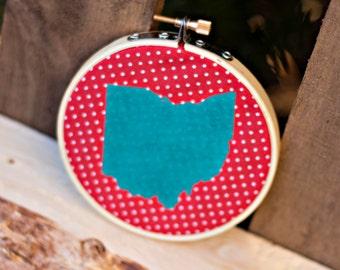 Small Ohio Embroidery Hoop Art