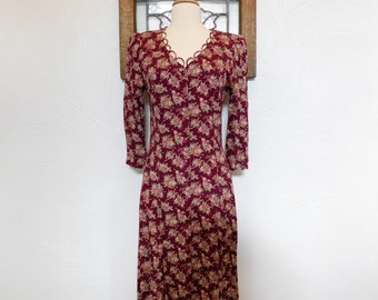 1980s Floral Dress Vintage 80s Wine Red Midi Dress - S