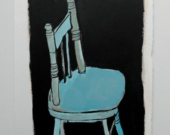 Original acrylic painting // still life painting // WOOD CHAIR no. 2 // original art on paper