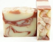 Pepperminty Soap Handmade Artisan Soap Cold Process Red White Swirl Luxury Body Bar with Shea Butter, Kaolin and Red Clay