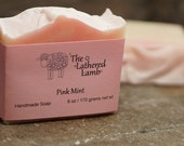 Pink Mint Handmade Luxury Soap Handcrafted Artisan Bath Bar 6 ounces Cold Process Soap Peppermint Scented Bar Soap with Pink Swirls