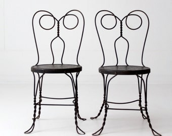 vintage ice cream parlor chairs, black iron cafe chair set, metal bistro chairs