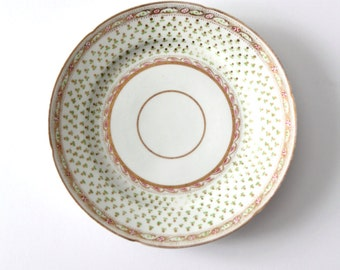 antique plate, vintage ceramic dish painted with gold trim