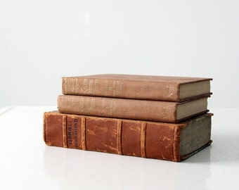 SALE antique book collections, brown books
