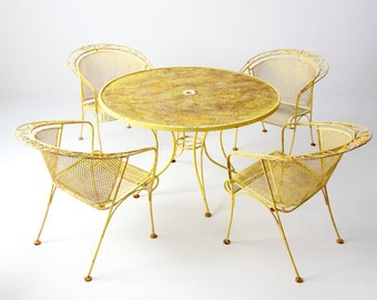 vintage patio table and chairs, yellow metal mesh outdoor table set