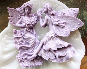 FAIRY SOAP SET, Woodland Fairies Soap Set, Colored in Lavender or Peach, Forest Fairies, Your Choice of Colors and Scents, Handmade