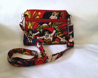 iPhone 6 OOP Wonder Woman large double zipper pouch cross body/wristlet-New Item