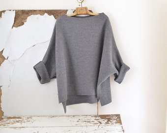 Tunic Sweater in Grey Boiled Wool - Raglan Wide Sleeves - Straight or V-Neck.