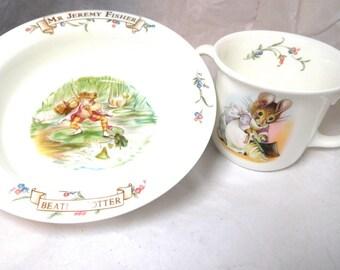 Vintage Beatrix Potter china Childs set by ROYAL ALBERT Bowl & Double handle Cup Jeremy Fisher/Hunca Munca