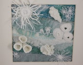 Abstract Seascape Anemone Modern framed wall art Ocean Teal Blue white sculptured coral reef fabric collage beach sculpture home decor