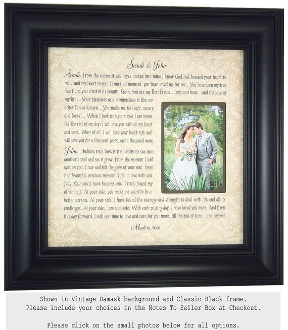 Wedding Vow Art Framed Wedding Vows Wedding By PhotoFrameOriginals