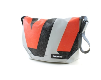 Messenger Bag made from Upcycled Truck Tarp, Laptop Bag, Courier Bag, Eco Friendly and Handmade (K07)