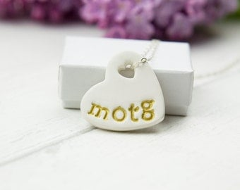 mother of the groom gift necklace, ceramic pendant