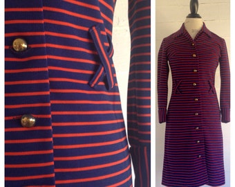Vintage 1960s MOD Navy Blue & Orange Striped Dress