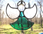 LT Stained glass aqua turquoise Angel suncatcher light catcher is my hand made in the USA