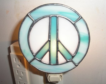 LT Stained glass aqua and white Peace sign Woodstock night light lamp made with white and streaked aqua opal glass