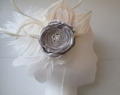 Silver Rose & Ivory Peacock Feather Fascinator, Bridal Flower Head Piece, Silver, Champagne, Rustic Country Bride, Kentucky Derby