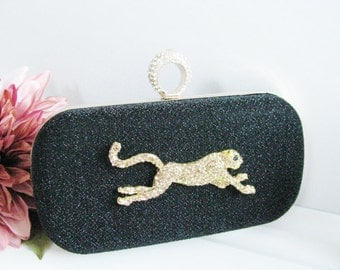 Hard Case Fabric Wedding Bag Clutch Formal Evening Bag with Crystals Jaguar fashion bag