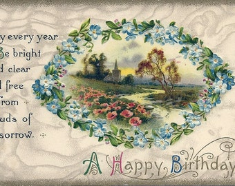 Antique Embossed Birthday Postcard Never Used