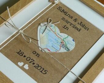 Engagement/Wedding/Honeymoon Keepsake - Love Map Heart - Irish Wedding - Personalised Framed Wall Art  - Handmade in Ireland