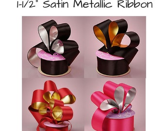 Personalized Foil Printed Satin Metallic Ribbon 10 yds- Great for Weddings, Anniversaries, Birthdays, Baby Showers  (HL-R001M)