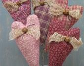 Valentine Heart Plant Pokes - Primitive Fabric Bouquet - Set of 5 - Valentine's Day - Wedding - Anniversary -  Primitive Country Home Decor