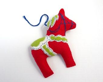 Red Swedish Dala Horse Christmas Ornament - Scandanavian, Swedish, Nordic