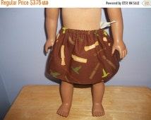 American 18 Inch doll clothes skirt handmade brown with Duck Dynasty items on it