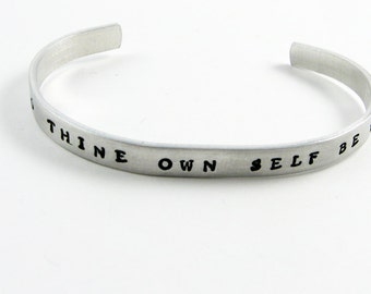 Shakespeare Quote Jewelry - To Thine Own Self Be True - Hamlet Quotation Bracelet for Bibliophile