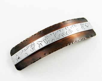 Music Note Clip Hand Stamped on Rustic Copper - Metal Hair Barrette Music Gift