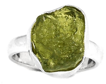 Sale, Adorable Magical Moldovite Ring, Size 5.5 USA or K 1/2, 925 Silver