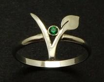 Silver Vegan Vegetarian Symbol Ring - Gift for Vegetarian - Vegetarian Jewelry - Vegan Ring