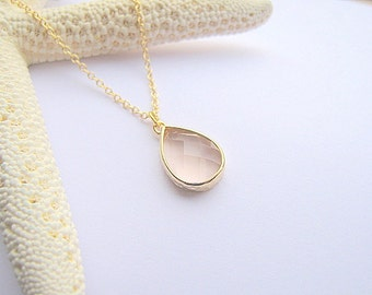 Blush Pendant Necklace / Blush Teardrop Necklace / Blush Gold Necklace / Bridesmaids / Blush Drop / Bridal / Wedding / Gift