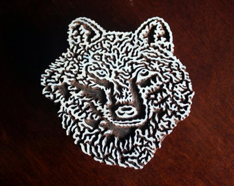 Textile Stamp, Pottery Stamp, Indian Wood Stamp, Tjaps, Blockprint Stamp- Wolf Head