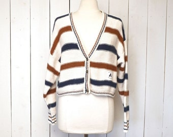 Cropped Cardigan Sweater 1980s Cotton Striped Nautical Long Sleeve Womens Vintage Sweater Medium Large