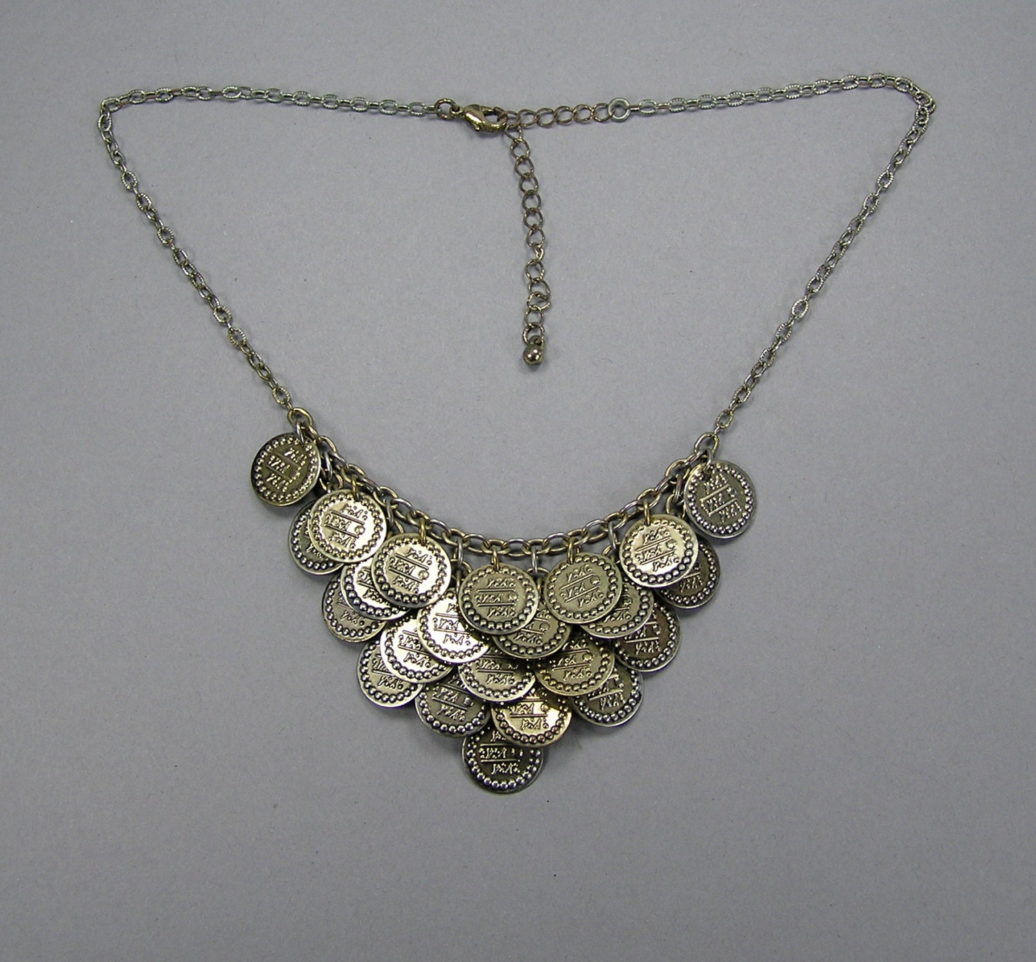 vintage coin necklace coin bib necklace by