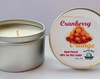 8 oz Cranberry Orange 100% Soy Candle. Hand Poured, Highly Fragranced, Long Burn. Eco Friendly, Reusable Tin. Vegan