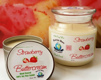 8 oz Strawberry Buttercream 100% Soy Candle Tin. Hand Poured, Highly Fragranced Delicious Scent, Long Burn. Eco Friendly. Vegan