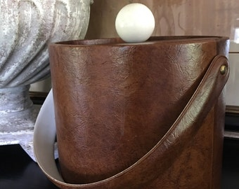 Vintage Brown Vinyl Ice Bucket Insulated w/ Lid ~ #A1579